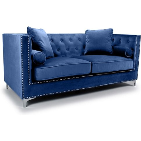 Peckham 3 Seater Sofa In Blue Brushed Velvet With Ch...