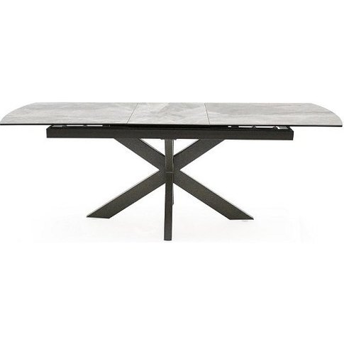 Pelagius Extending Glass Dining Table In Grey With M...