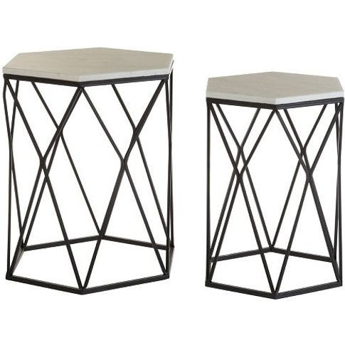 Pelham Marble Side Tables In White With Black Steel ...