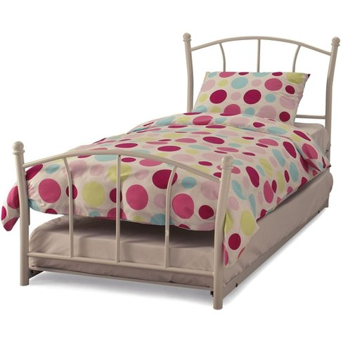 Penny Metal Single Bed With Guest Bed In White