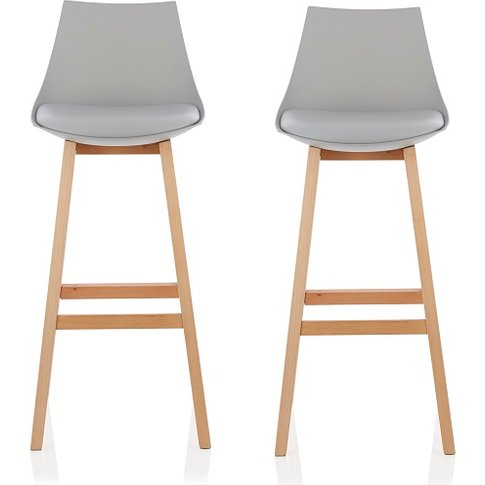 Penton Bar Stools In Grey Faux Leather Seat Pad In A...