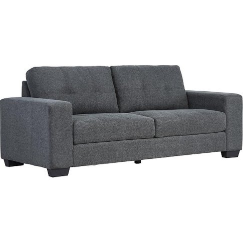 Perkins 3 Seater Sofa In Grey Fabric With Wooden Feet