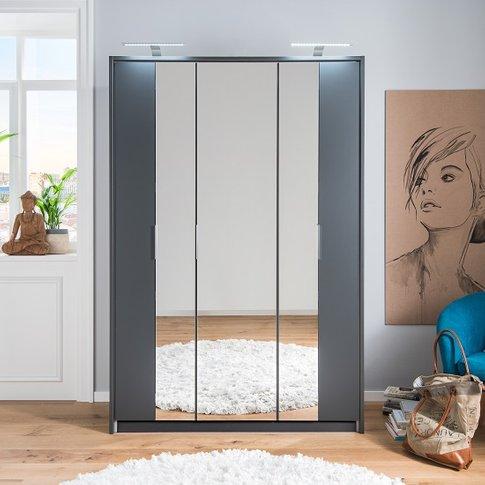 Perla Mirrored Wardrobe In Aluminium Effect And Grap...