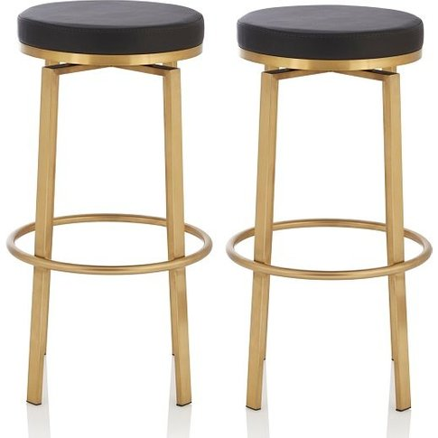 Perona Bar Stool In Black Faux Leather And Gold Legs...