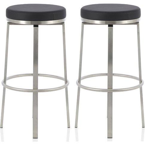 Perona Bar Stool In Black Faux Leather And Steel Leg...