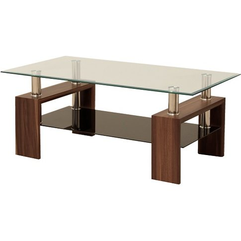 Petra Glass Coffee Table Rectangular In Clear With W...