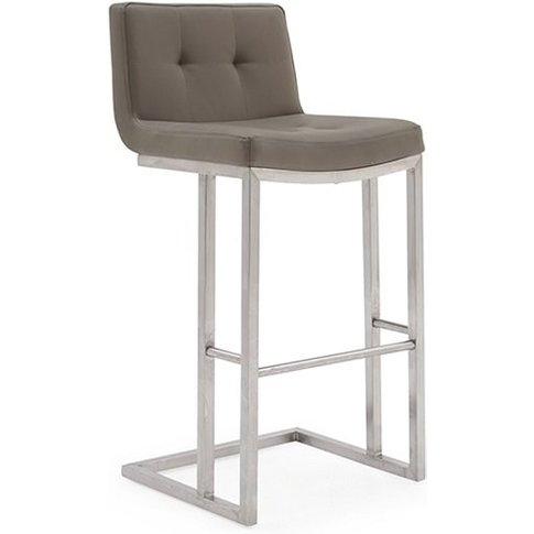 Pietro Bar Stool In Brown PU With Brushed Metal Frame