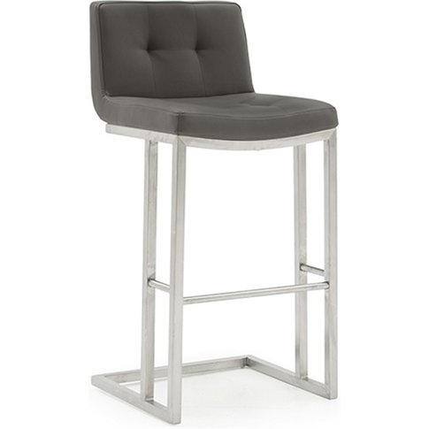 Pietro Bar Stool In Grey Pu With Brushed Metal Frame