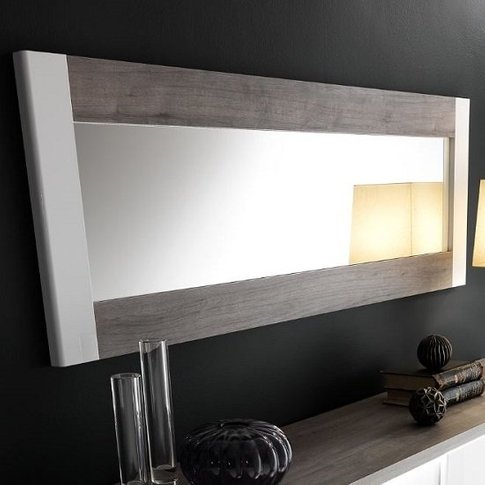 Pinellas Wall Mirror In Grey Oak And White Lacquered...