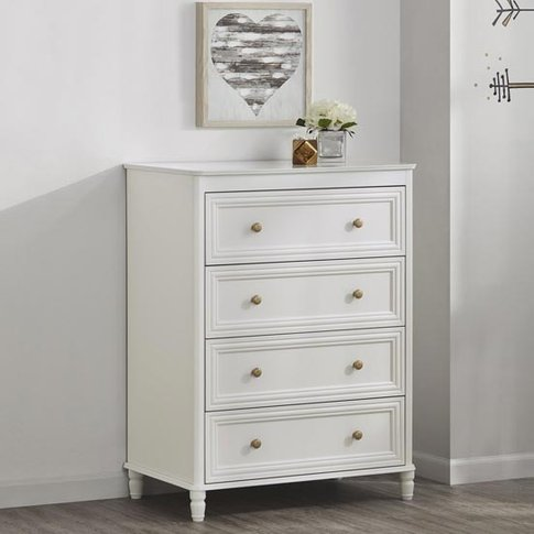 Piper Wooden Chest Of Drawers In Cream With 4 Drawers