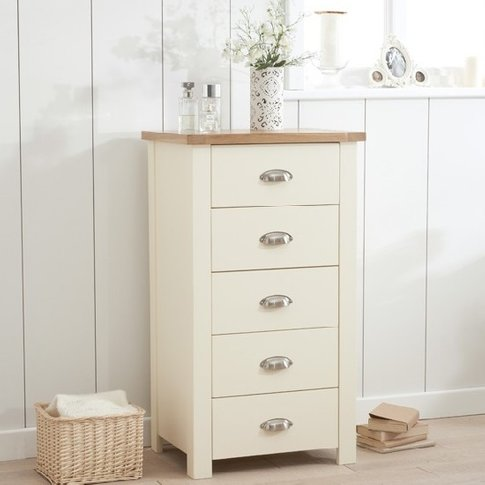 Platina Tall Chest Of Drawers In Cream And Oak With ...