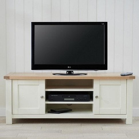 Platina Wooden TV Stand In Cream And Oak With 2 Doors