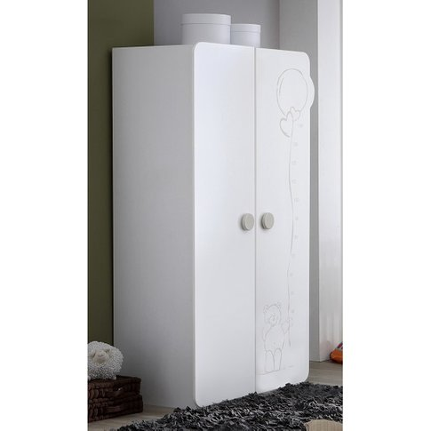 Prague Childrens Wardrobe In White With 2 Doors