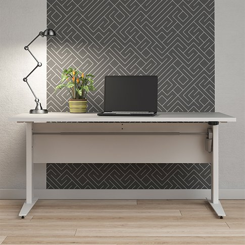 Prax Electric 150cm Computer Desk In White With Silv...
