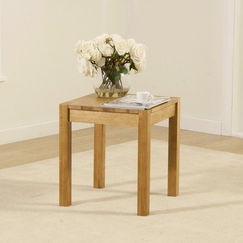 Presley Wooden Lamp Table Square In Solid Oak