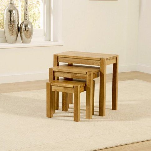 Presley Wooden Nest Of Tables In Solid Oak