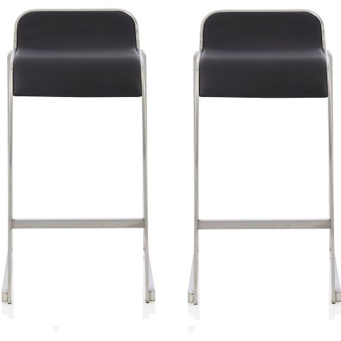 Pressley Bar Stool In Black Faux Leather In A Pair