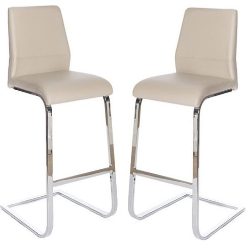 Presto Bar Stool In Taupe Pu With Chrome Legs In A Pair