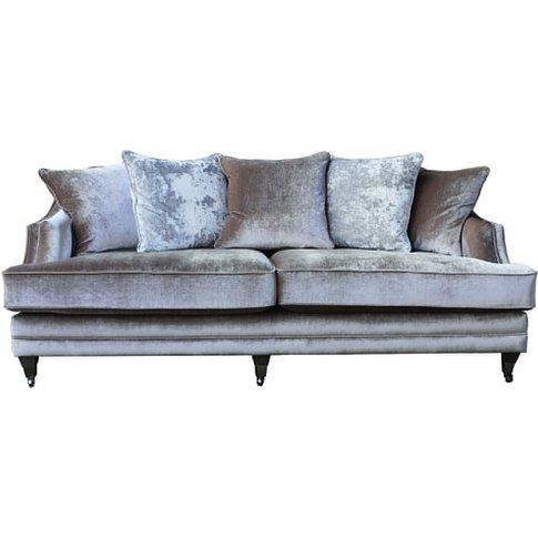Preston 4 Seater Sofa In Champagne Velvet With Dark ...