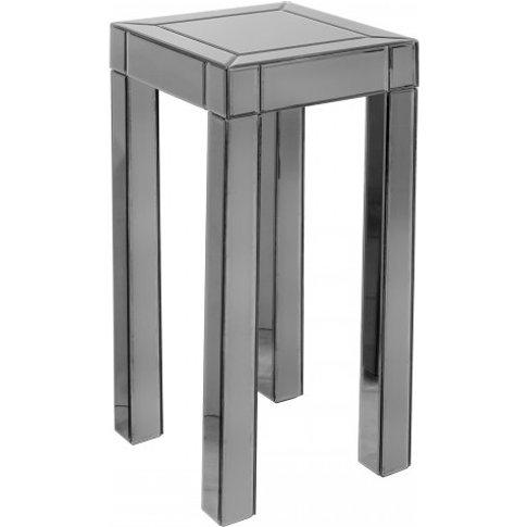 Preston Mirrored Tall Side Table Square In Titanium ...