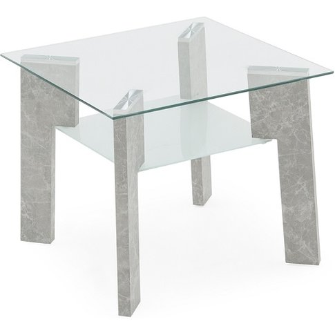 Primus Glass Lamp Table Square In Clear With Grey Legs