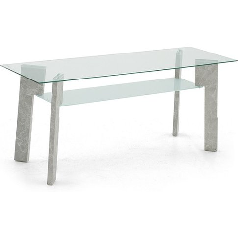 Primus Glass TV Stand Rectangular In Clear With Grey...