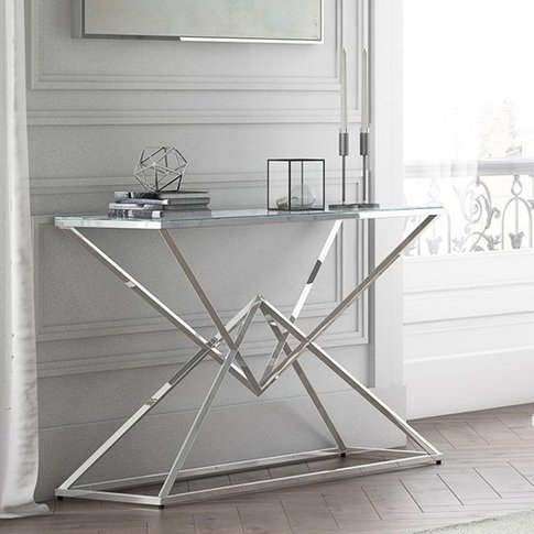 Prism Glass Console Table With Polished Stainless St...