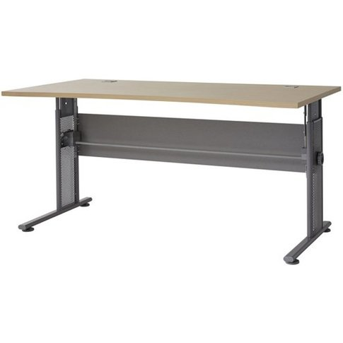 Profi Large Laptop Desk In Maple And Silver