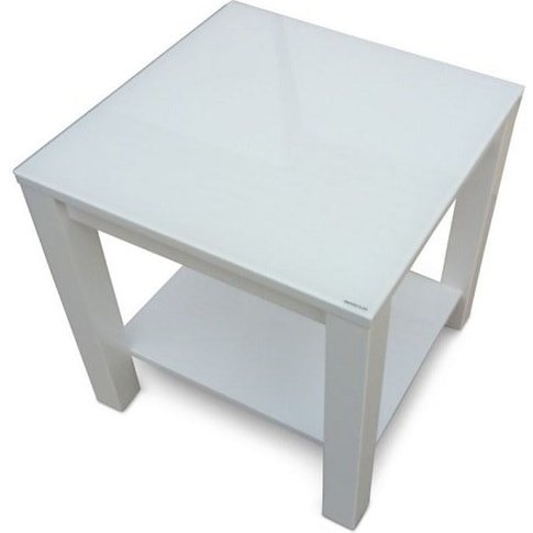 Promo Glass Side Table With White High Gloss And Undershelf