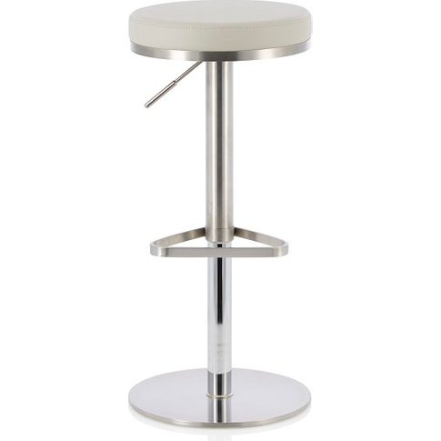 Quadro Bar Stool In Grey Faux Leather And Stainless ...