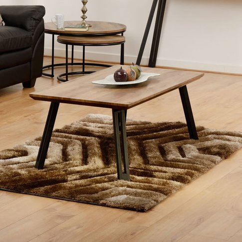 Quebec Wooden Straight Edge Coffee Table In Medium O...