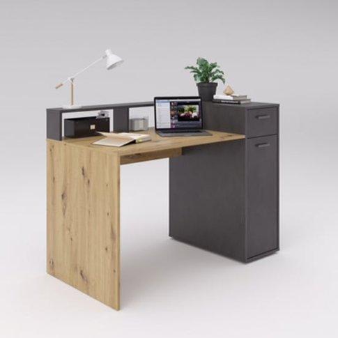 Quebec2 Wooden Computer Desk In Artisan Oak And Matera