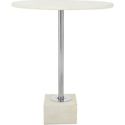 Mekbuda Steel Base Side Table With White Marble Top