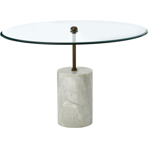 Menkent Large Marble Top Side Table With White Metal...