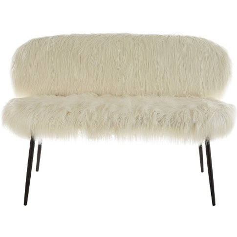 Rawson Upholstered Faux Fur Sofa In White With Black...