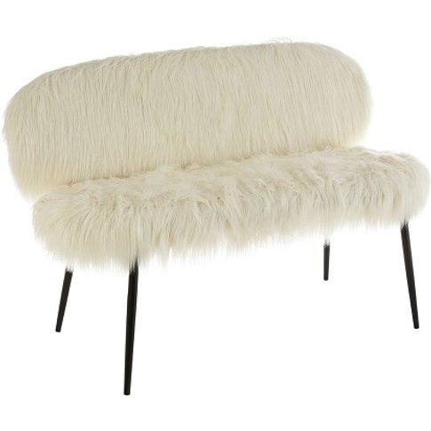 Merope White Faux Fur Sofa In Pair With Black Legs