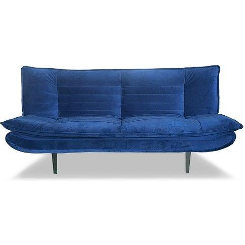 Reber Velvet Sofa Bed In Blue Finish With Black Meta...