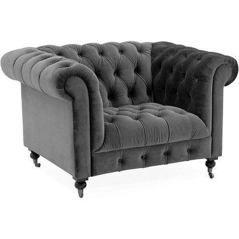 Reedy Chesterfield Velvel Sofa Chair In Grey With Me...
