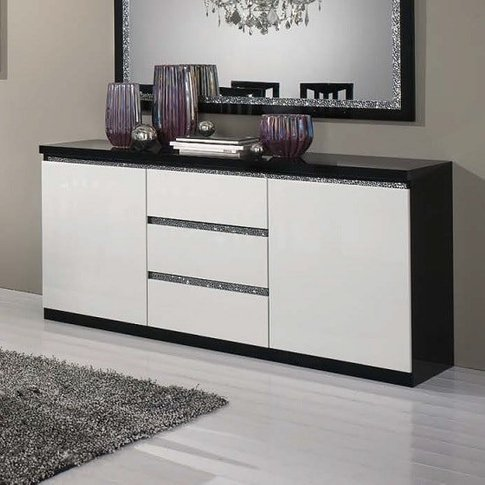 Regal Sideboard In Black White Gloss Lacquer Crystal...