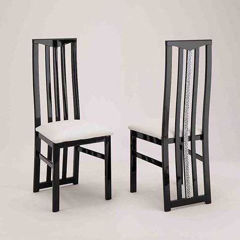 Regal Dining Chair In Black And White With Crystal D...
