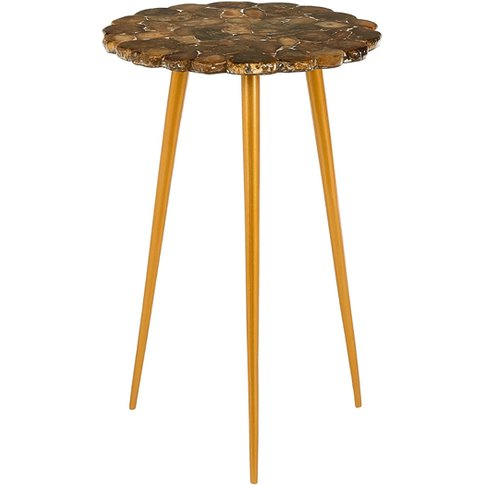 Relics Agate Stone Top Round Side Table With Gold Frame