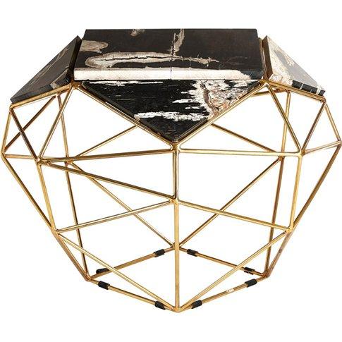Relics Dark Petrified Wooden Geometric Side Table In...