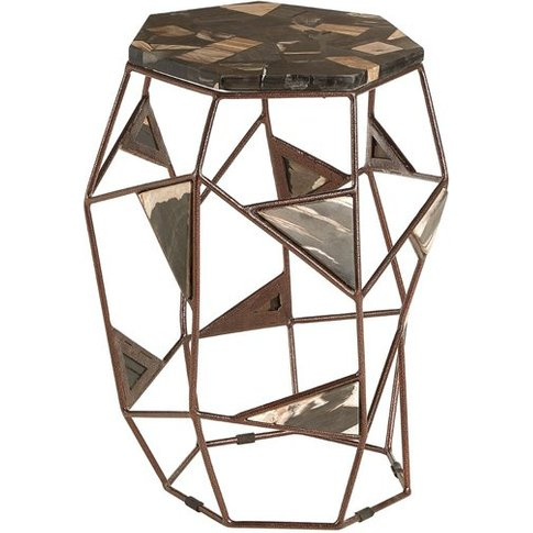 Relics Petrified Wooden Side Table With Asymmetric F...