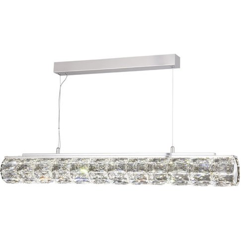 Remy Led Tube Bar Pendant Light In Chrome With Cryst...