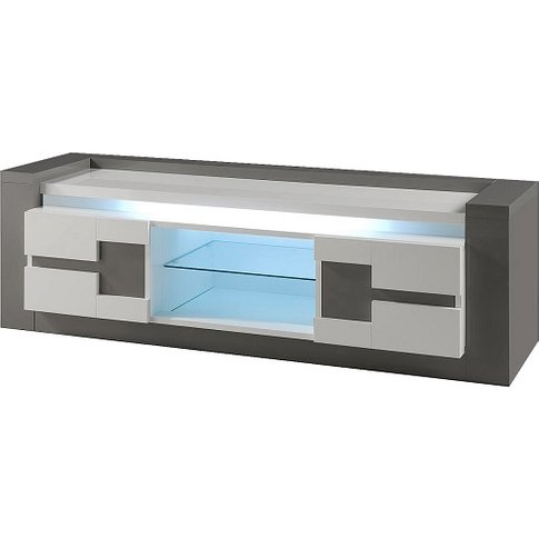 Renoir Tv Stand In Taupe And Grey Gloss With Lights