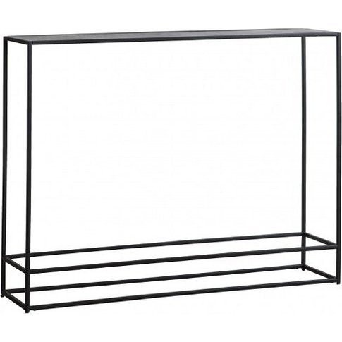 Retiro Console Table In Antique Silver With Black Me...