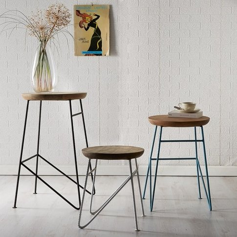 Reverso Wooden Set Of Side Tables In Reclaimed Wood ...