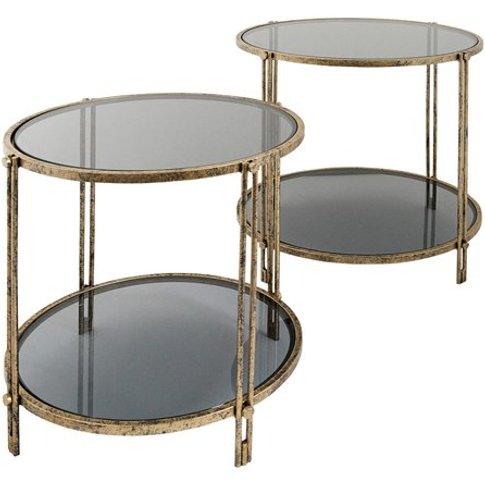 Rhianna Set Of 2 Glass Side Table In Antique Brushed...