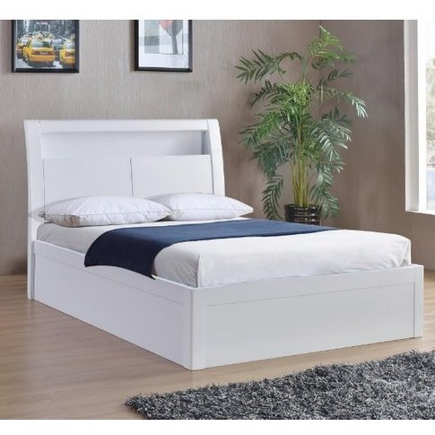 Riano Storage Double Bed In White High Gloss