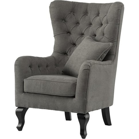 Rigby Fabric Accent Chair In Grey With Wooden Legs